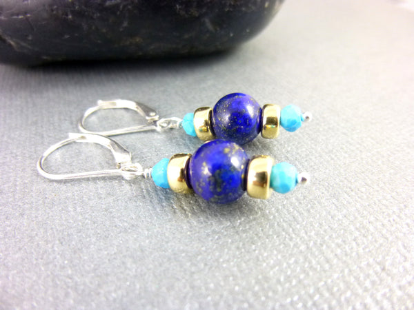Sleeping Beauty Turquoise Earrings, Lapis Lazuli, Throat Chakra - Earth Energy Gemstones