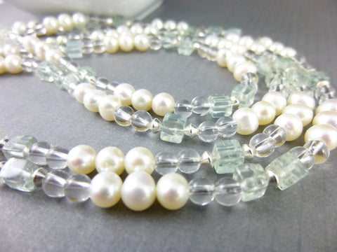 Aquamarine Necklace and Freshwater Pearls, Art Deco Style - Earth Energy Gemstones