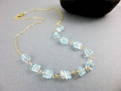 Aquamarine Wire Wrapped Necklace, Throat Chakra, 14K Gold Fill