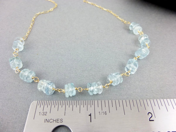 Aquamarine Throat Chakra Necklace, 14K Gold Fill - Earth Energy Gemstones