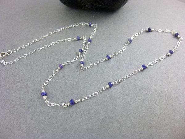 Blue Sapphire Station Necklace - Earth Energy Gemstones