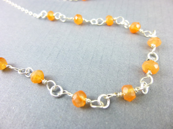 Carnelian Root Chakra Necklace, Sterling Silver
