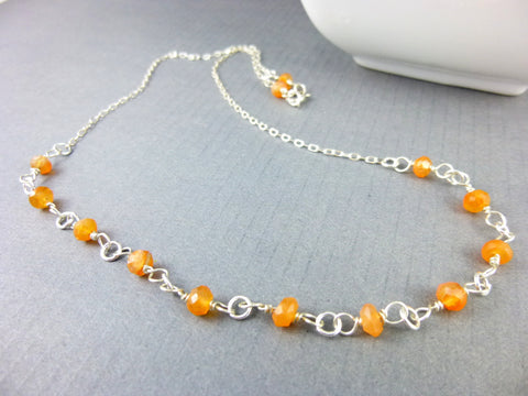 Carnelian Chakra Necklace, Sterling Silver - Earth Energy Gemstones