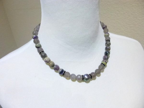 Charoite & Baroque Pearl Chakra Necklace with Quartz Crystal, Sterling Silver