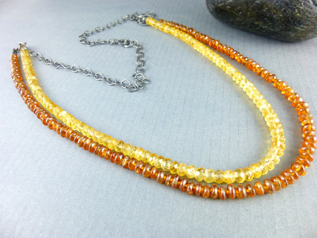Citrine Double Strand Chakra Necklace in Oxidized Sterling Silver