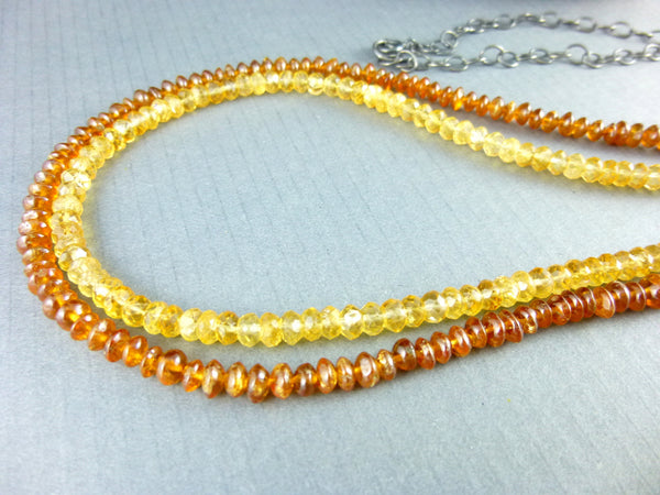 Citrine Chakra Necklace, Double Strand - Earth Energy Gemstones