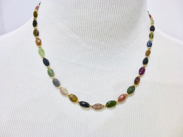 Multi-Color Tourmaline Chakra Necklace 14K Gold Fill - Earth Energy Gemstones