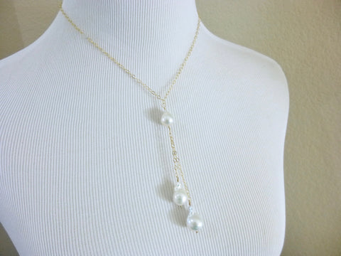 Pearl Lariat Necklace, Flameball Pearls, Chakra Necklace