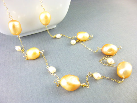 Golden Blush Baroque Freshwater Pearl Chakra Necklace, 14K Gold Filled