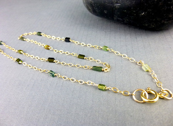 Green Tourmaline Chakra Necklace, Heart Chakra, 14K GF - Earth Energy Gemstones