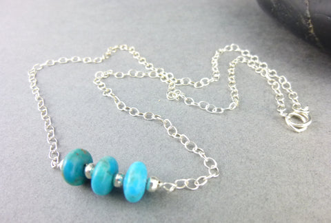 Throat Chakra Necklace, Kingman Turquoise & Sterling Silver
