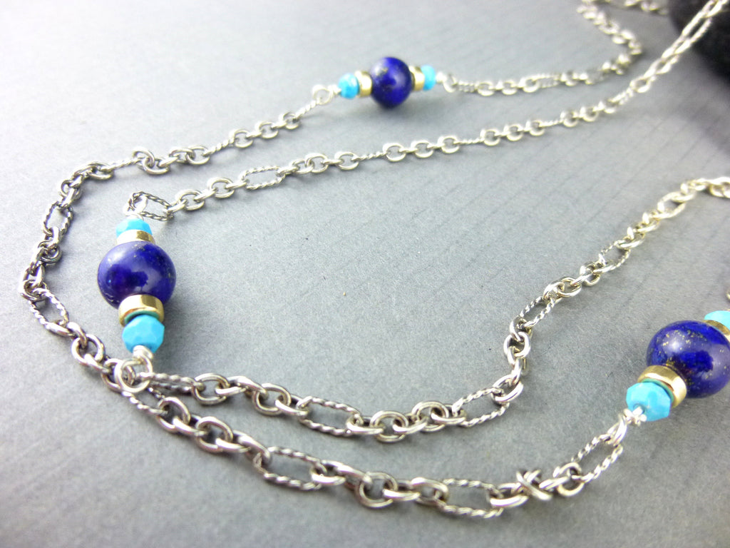 Sleeping Beauty Turquoise Chakra Necklace, Lapis Lazuli - Earth Energy Gemstones