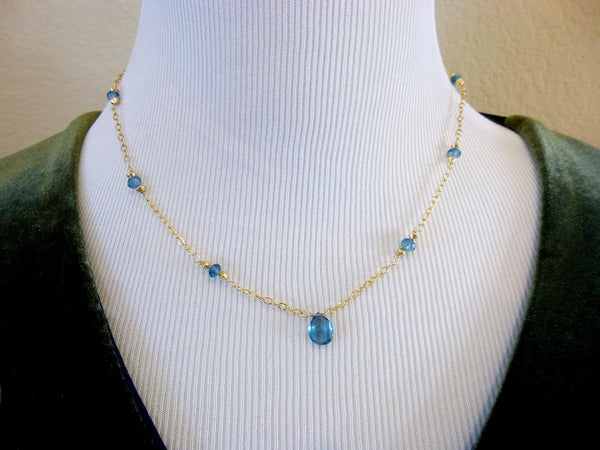 London Blue Topaz Necklace, 14K Gold Fill - Earth Energy Gemstones