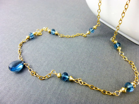 London Blue Topaz Chakra Necklace in 14K Gold Fill