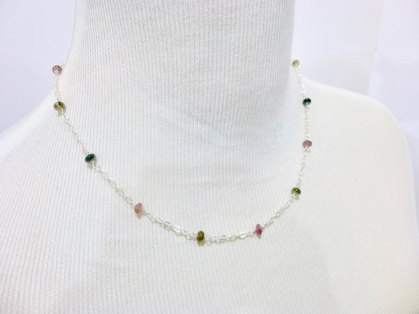 Multi-Color Tourmaline Chakra Station Necklace, Sterling Silver - Earth Energy Gemstones