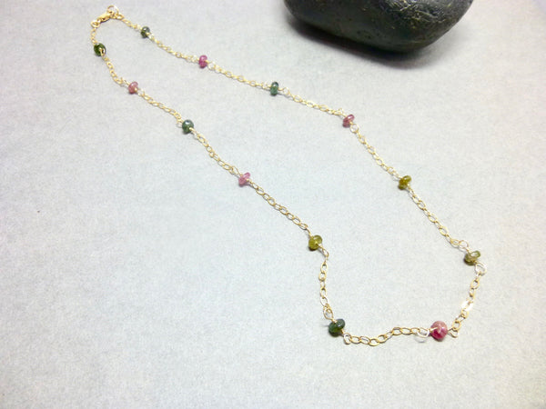 Colorful Tourmaline Chakra Station Necklace, 14K Gold Fill - Earth Energy Gemstones
