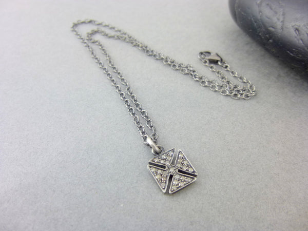 Pavé Diamond Gothic Cross Pendant Necklace, Sterling Silver