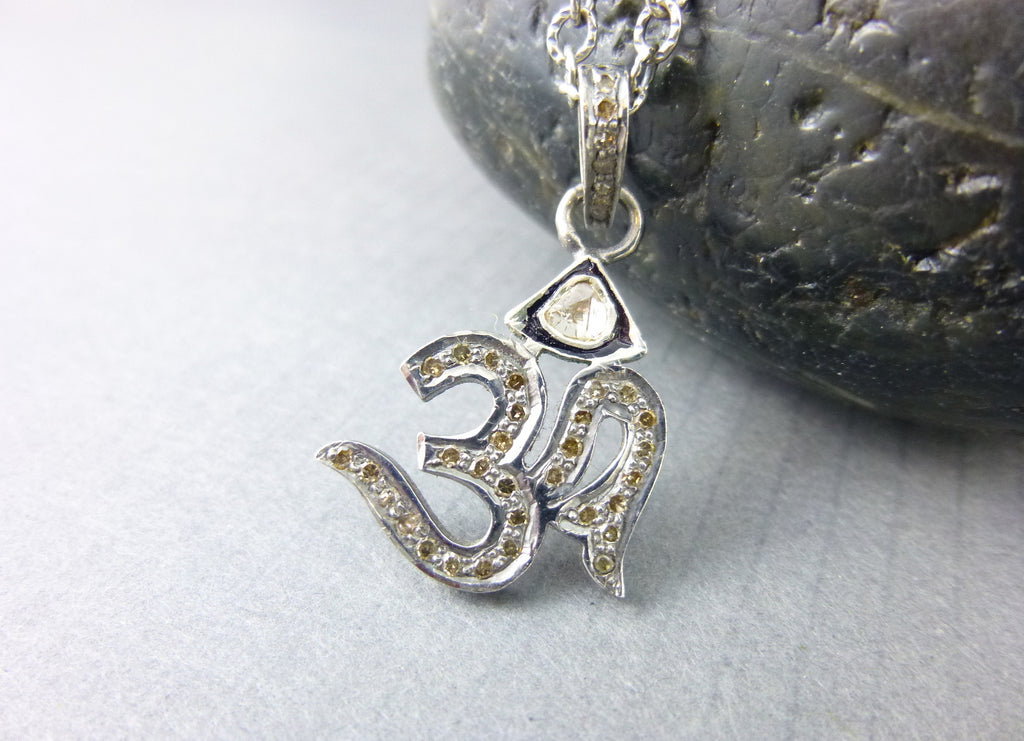 OM Pavé Diamond Pendant, Yoga Necklace, All Chakras