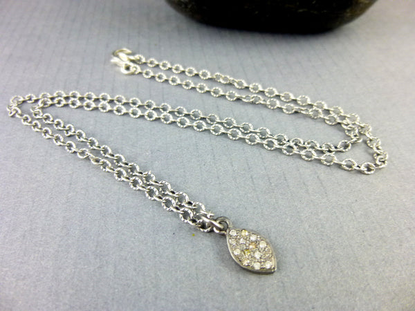 Marquise Diamond Pendant, Pavé Diamonds & Sterling Silver Chain, All Chakras