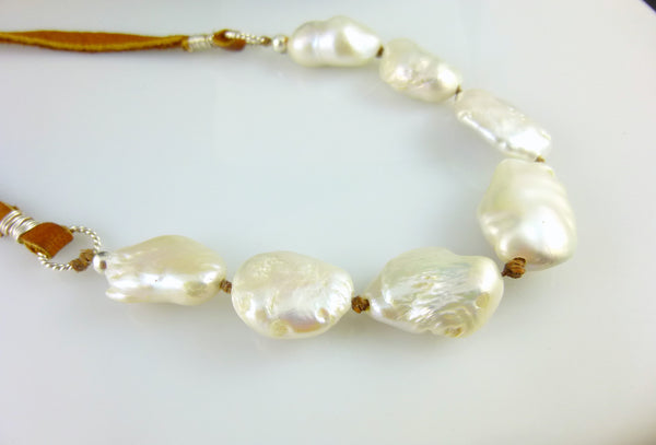 Luxe Bohemian Baroque Pearl & Leather Necklace, Third Eye Chakra