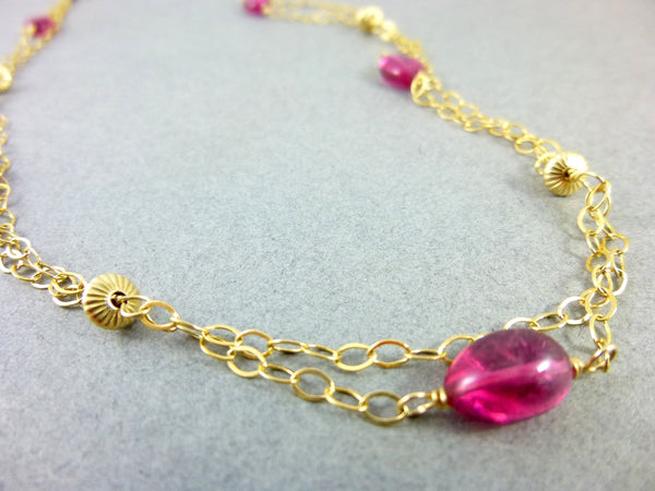 Pink Tourmaline and 14K Gold Fill Necklace, Heart Chakra