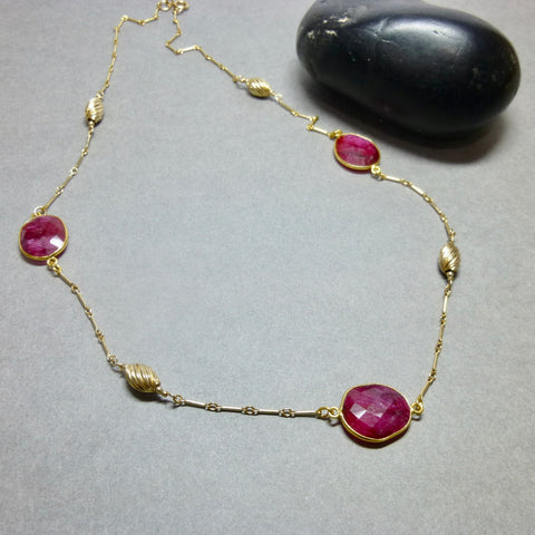 Genuine Ruby Chakra Necklace, July Birthstone - Earth Energy Gemstones