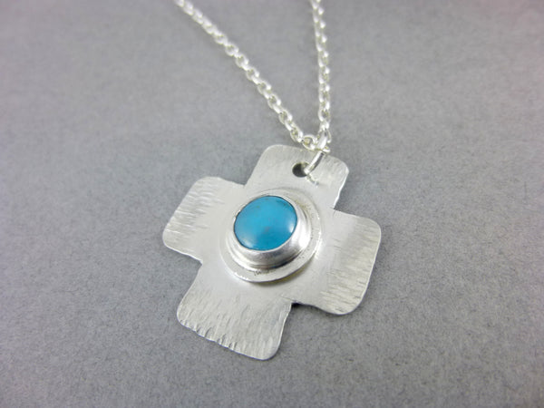 "Hand-Forged Sleeping Beauty Turquoise ""Cosmic Cross"" Pendant Necklace, Sterling Silver"