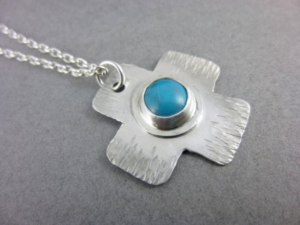 Turquoise Pendant Necklace, Sleeping Beauty, Handcrafted Silver Cross - Earth Energy Gemstones