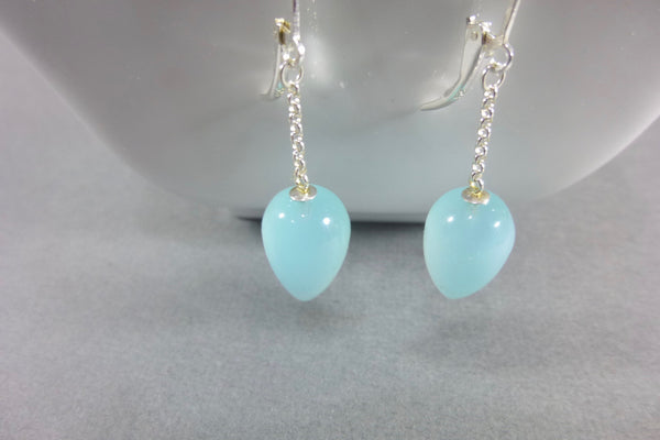 Aqua Blue Chalcedony Dangle Earrings, Sterling Silver 7 - Earth Energy Gemstones