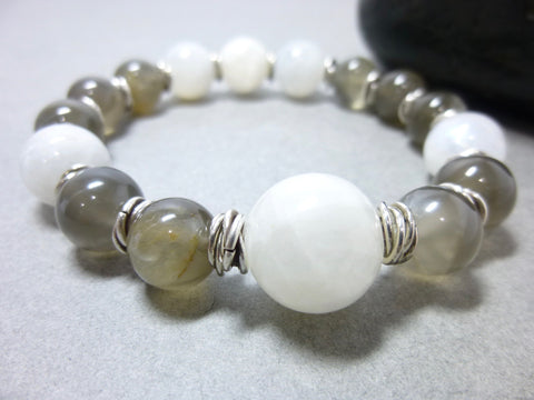 White and Gray Moonstone Chakra Bracelet, Sterling Silver