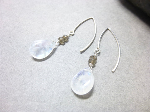 RESERVED FOR SI - Rainbow Moonstone and Smoky Quartz Earrings