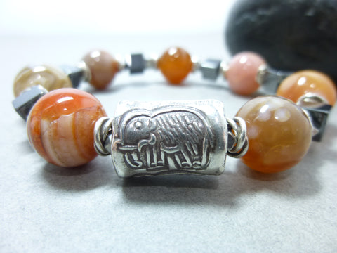 Natural Carnelian and Hematite Bracelet - Luck and Protection