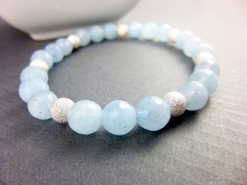 Aquamarine Chakra Bracelet, Sterling Silver, March Birthstone - Earth Energy Gemstones