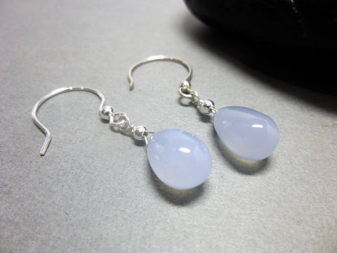 Lavender Blue Chalcedony Earrings, All Chakras, Sterling Silver