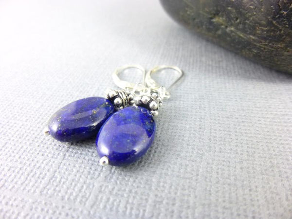 Lapis Sterling Silver Throat Chakra Earrings
