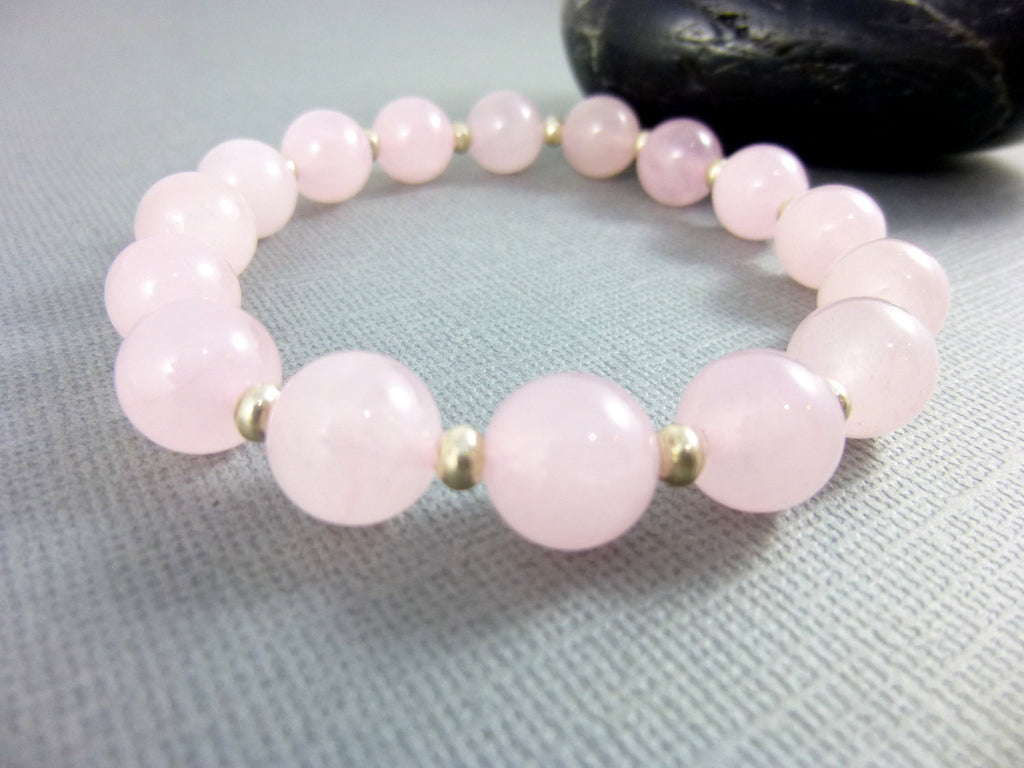 Rose Quartz Chakra Bracelet, Fine Silver - Earth Energy Gemstones
