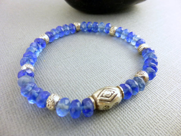Blue Quartz Stretch Chakra Bracelet, Hill Tribe Fine Silver