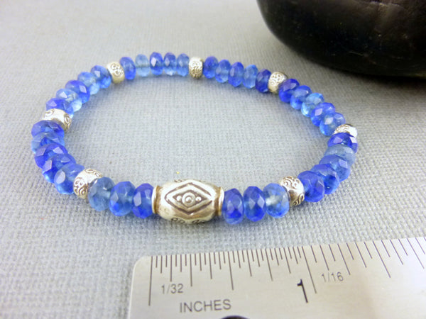 Blue Quartz Chakra Bracelet, Fine Silver - Earth Energy Gemstones
