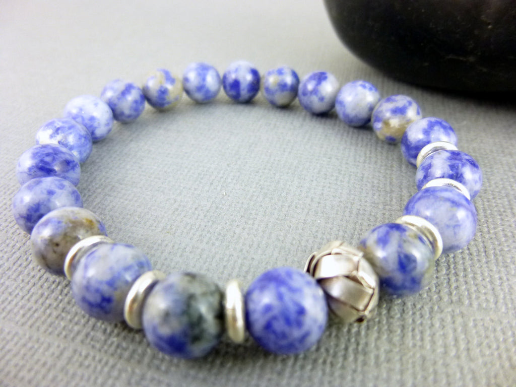 Blue Sodalite Chakra Bracelet, Fine Silver - Earth Energy Gemstones