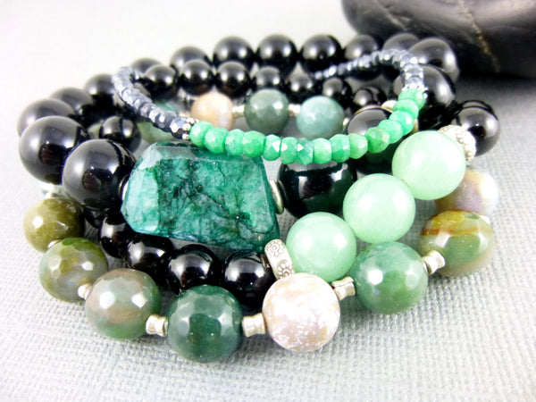 Emerald & Black Onyx Chakra Stretch Bracelet, Hill Tribe Fine Silver