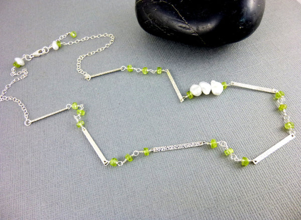 Pearl & Peridot Hammered Bar Necklace, Boho Chic Necklace, Sterling Silver