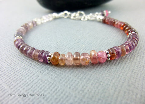 Pink Chakra Bracelet, Colorful Spinel - Earth Energy Gemstones