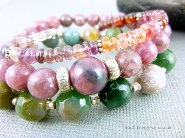 Multi-Color Spinel Bracelet, Colorful Spinel Chakra Bracelet, Sterling Silver