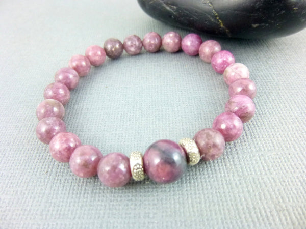 Pink Heart Chakra Bracelet, Pink Tourmaline & Rhodonite - Earth Energy Gemstones