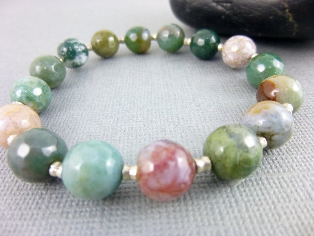 Jasper Chakra Bracelet, Fancy Jasper, All Chakras - Earth Energy Gemstones