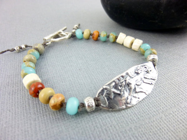 "Horse Jewelry, Wild Mustang ""Be Free"" Bracelet - Earth Energy Gemstones"