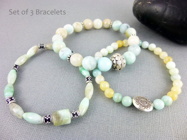 Amazonite Chakra Bracelets, Throat & Heart Chakras - Earth Energy Gemstones