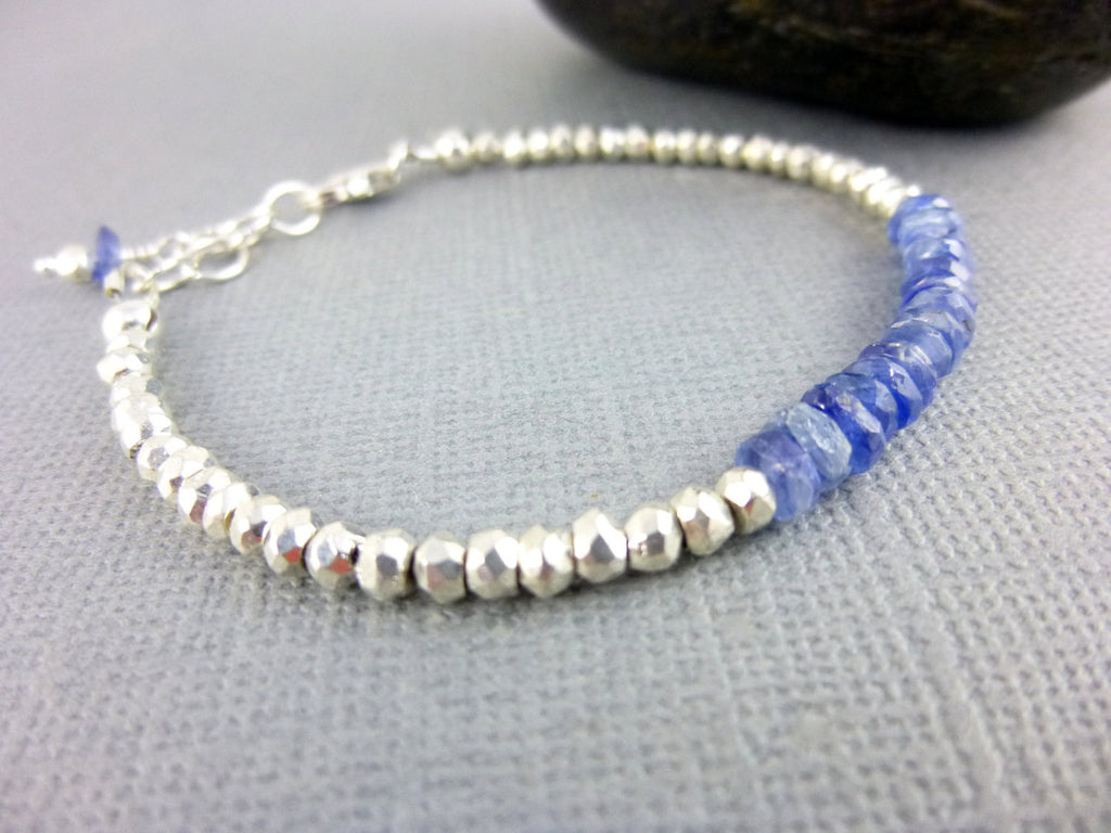 Throat Chakra Bracelet, Blue Kyanite, Sterling Silver - Earth Energy Gemstones