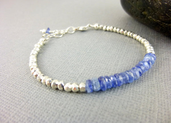Blue Kyanite & Pyrite Throat Chakra Bracelet, Sterling Silver