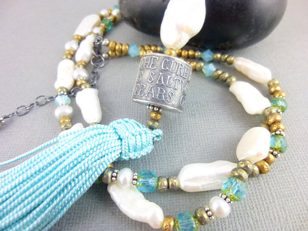 Anne Choi Silver Bead & Pearl Necklace, Sterling Silver, Long Tassel Chakra Necklace